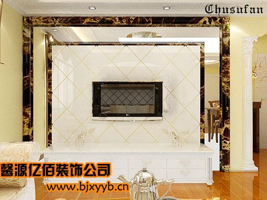 欧式石膏线电视墙效果图